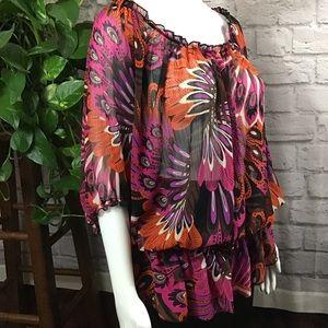 Pure Energy Tops - 🧨SALE! 3/$20 pink black floral 2X peasant top 🍃